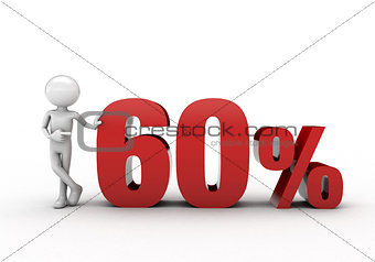 3D character with 60% discount sign