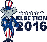 US Election 2016 Republican Mascot Thumbs Up Cartoon