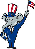 Republican Mascot Elephant Waving US Flag Cartoon