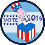 Vote 2016 Hand Ballot Box Circle Etching