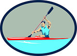 Kayak Racing Canoe Sprint Oval Retro
