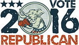 Vote Republican 2016 Elephant Boxer Circle Etching