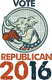 Vote Republican 2016 Elephant Boxer Etching