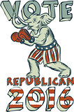 Vote Republican 2016 Elephant Boxer Isolated Etching