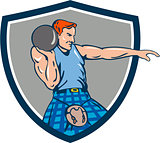 Highland Games Stone Put Throw Crest Retro