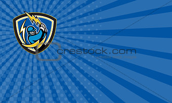 Business card Cricket Player Lightning Bat Crest Retro