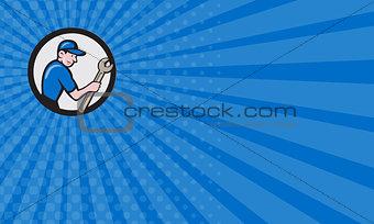 Business card Handyman Holding Spanner Circle Cartoon