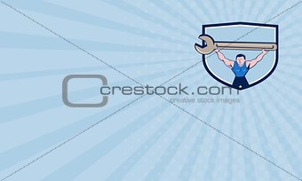 Business card Mechanic Lifting Giant Spanner Wrench Crest Cartoon