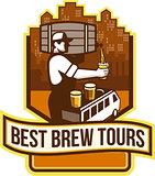 Bartender Pouring Beer Keg Cityscape Crest Retro