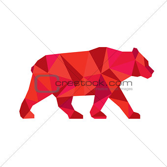 American Black Bear Walking Low Polygon