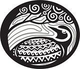 Golden Plover Looking Up Tree Oval Tribal Art