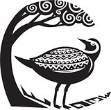Golden Plover Standing Tree Tribal Art