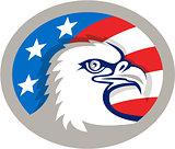 Bald Eagle Head USA Flag Oval Retro