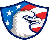 Bald Eagle Head USA Flag Shield Retro