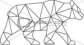 American Black Bear Black and White Low Polygon