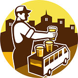 Bartender Beer City Van Circle Retro