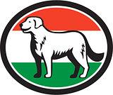 Kuvasz Dog Hungarian Flag Oval Retro