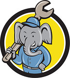 Elephant Mechanic Spanner Shoulder Circle Cartoon