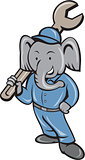 Elephant Mechanic Spanner Standing Cartoon