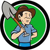 Farmer Shovel Shoulder Circle Cartoon
