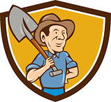 Farmer Shovel Shoulder Crest Cartoon
