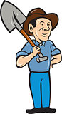 Farmer Shovel Shoulder Standing Cartoon