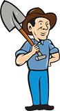 Farmer Shovel Shoulder Standing Cartoon