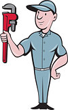 Handyman Monkey Wrench Standing Cartoon