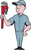 Handyman Monkey Wrench Standing Cartoon