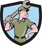 Mechanic Wielding Spanner Crest Cartoon