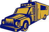 Ambulance Emergency Vehicle Truck Woodcut