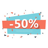 Colorful sale badge. Geometric design.