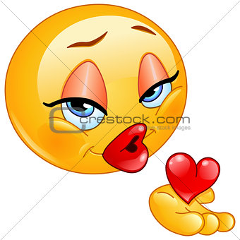Blowing kiss female emoticon
