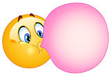 Bubble gum emoticon