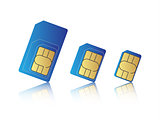 Mobile phone sim card set, standard, micro and nano sim card, vector illustration