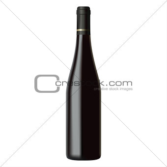 Black wine bottle isolated on white background