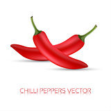 Whole red chili peppers, realistic illustration of a chilli pappers