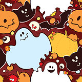 Seamless pattern for Halloween. Pumpkin, ghost, bat, candy, and