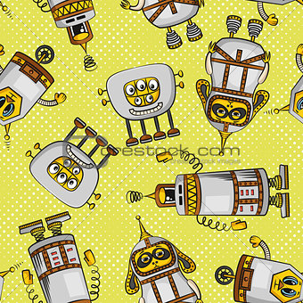 Cartoon Robots Seamless