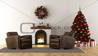 Classic christmas room with fireplace