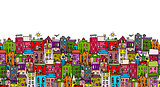 European cityscape, seamless pattern for your design