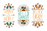 Set of summer hand-sketched elements