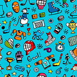 Hockey seamless pattern, sketch for your design