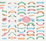 Fifty Vector Colorful Hand Drawn Ribbons, Banners, Frames