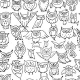 Funny owls, seamless pattern for your design