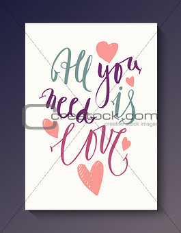Abstract love postcard template
