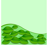 Vector leaves and green wave pattern. Abstract ecology background