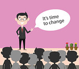 it's time to change quote businessman present on front of audience vector graphic