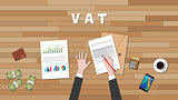 vat value added tax with businessman hand write a graph and text on work desk vector graphic