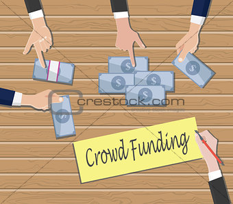 crowdfunding concept with people hand give cash money on top of the table vector graphic